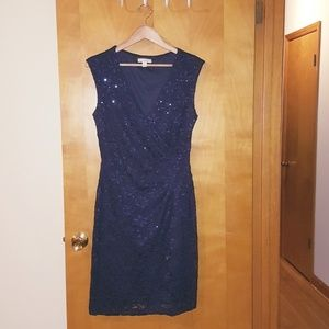 Navy blue faux wrap sequin dress